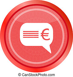 web icon cloud with euro sign, web button isolated on white