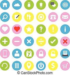 web icon flat style on circle