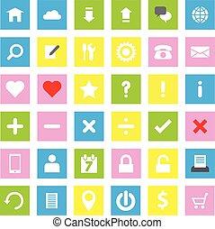 web icon flat style on rectangle