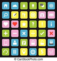 Web icon set colorful round rectang