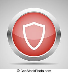 Web icon. Shield in line style. Red button.