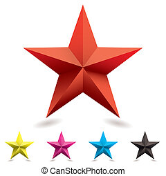 Collection of web icons in star shape with cmyk colors