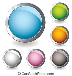 web icon variation round - six round web icon button with...