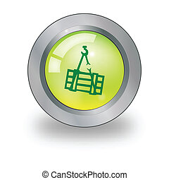 Web icon with cargo sign over butto