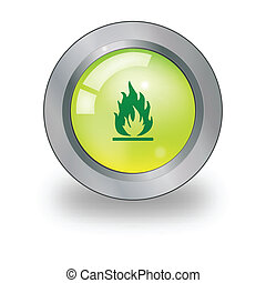 Web icon with flames sign over butt