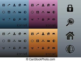 web, icona, 2.0, pulito, pacco