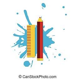 web, icona, illustratore, regola, matita