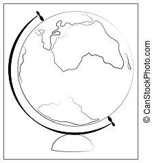 web, icona, illustrazione, vettore, isolato, ui., appartamento, icon., app, silhouette, disegno, globo, white., logotipo
