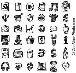 web, icona, mano, disegnare