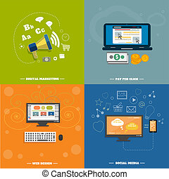 web, iconen,  media, sociaal,  seo, Ontwerp