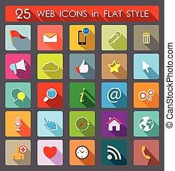 web, icons., appartamento, stile, 25
