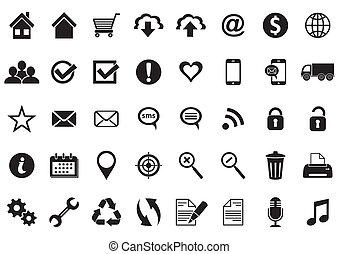 Black vector universal web and mobile icons collection