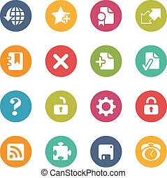 Web Icons -- Fresh Colors Series - Icons and buttons in...