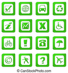 Web icons, green crystallized color