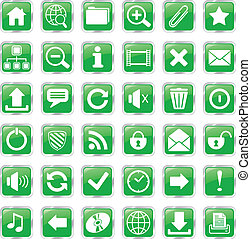 web icons green - set of glossy square vector web icons