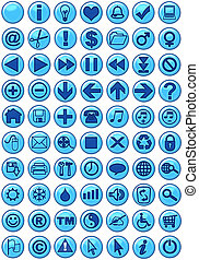 Web Icons in blue - Illustrations of Web icons in blue