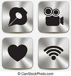 Web icons on metallic buttons set vol 5