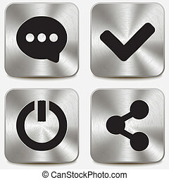 Web icons on metallic buttons set vol 6