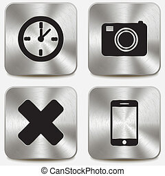 Web icons on metallic buttons set vol 7