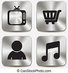 Web icons on metallic buttons set vol 8