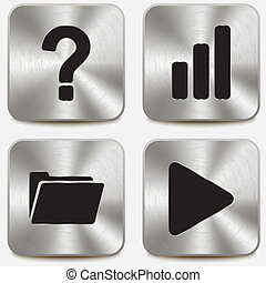 Web icons on metallic buttons set vol 9