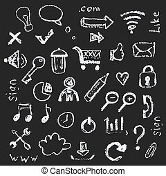 Web icons painted on a black background in the style of chalks.