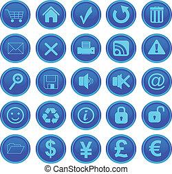 web icons set blue