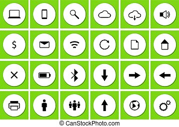 Web Icons Set Green Backgound