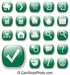 Your set of shiny button icons is ready. The green website navigation collection.