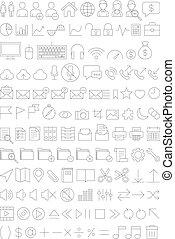 Web icons set line thin style.