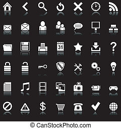 Set of 42 white icons for Web.