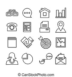 Web icons set. Trendy flat style for graphic design, web-site. Stock Vector illustration.