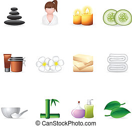 Spa related icon set. EPS 10 with transparencies & transparent shadows placed on layer beneath.