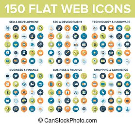 Web Icons - Vector set of flat and colorful web icons with...