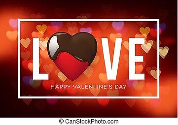 web, illustration., cuore, valentine, cima, sfocato, day., fondo, vettore, cioccolato, bandiera, composizione, vista