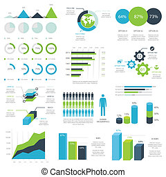 Web infographic elements vector - Green and blue web...