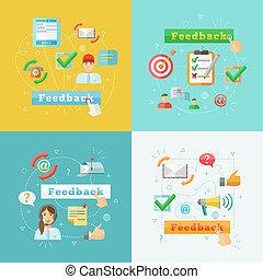 web, infographic, set, feedback, elementi