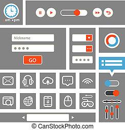 Web interface template. Flat design