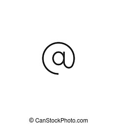 web internet at sign Icon. line style vector illustration