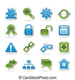 web internet, bouwterrein, iconen