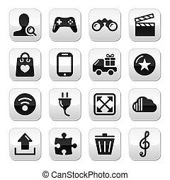 Web internet grey buttons set