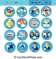 Web Internet Icon Set Social Network Communication Collection
