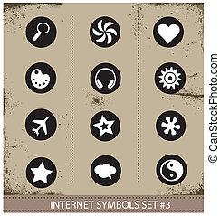 Web internet symbols set grunge style
