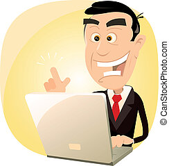 Web Is Magic ! - Illustration of a happy businessman having...