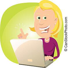Web Is Magic ! - Illustration of a cartoon blonde woman...