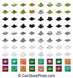web, isometric, set, illustration., iconen, symbool,...