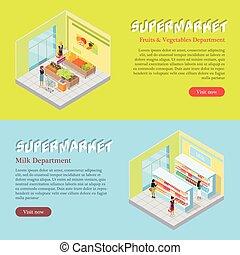 web, isometrico, set, supermercato, dipartimenti, bandiere