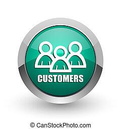 web, klanten, ronde, chroom, metalen, achtergrond., ontwerp, internet, groen wit, schaduw, zilver, pictogram