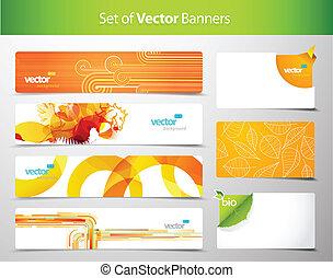 web, kleurrijke, abstract, headers., set