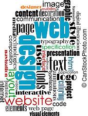web, label, ontwerp, wolk, internet